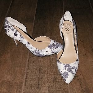 Vince Camuto Gray and White Pumps